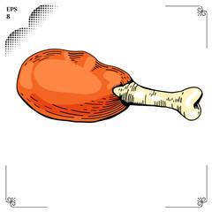 Chicken leg cartoon illustration. Multicolor picture. Engraving