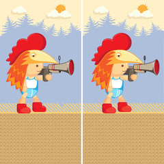 Cute cartoon boy. Character with a gun. Find the ten differences