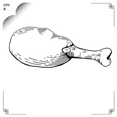 Chicken leg cartoon illustration. Graphics picture. Engraving st