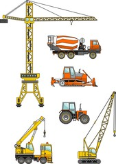 Set of heavy construction machines