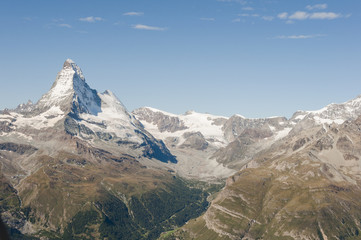 Zermatt, Dorf, Walliser Berge, Schweizer Alpen, Zmuttgletscher