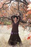Young woman dancing ritual magic dance