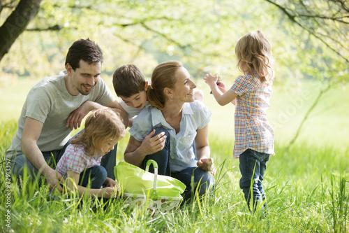 Familie rastet auf einer Wiese - 72913357