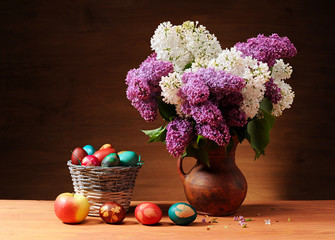 Lilac in vase  Easter eggs