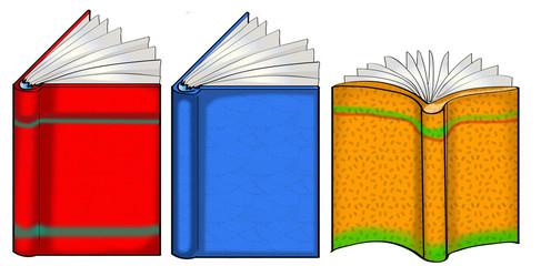 Three open books illustration
