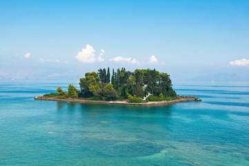 Pontikonisi or Mouse island in Ionian sea. Corfu island,Greece.
