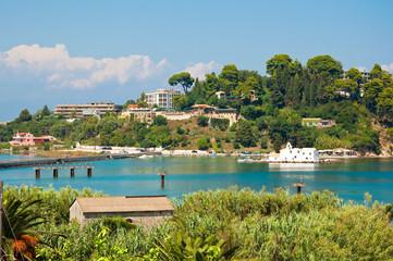 The hilltops of Kanoni on Corfu island, Greece.