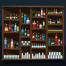 Pełne półki alkohol butelki