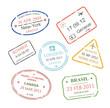 International business travel visa stamps set vector - 72914766
