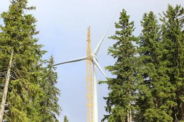 Mit einem Kran wird ein neues Windkraftrad gebaut