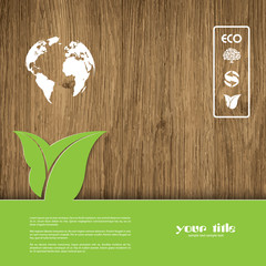 Ecology signs and symbols on a wood textured background