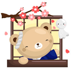 Japan Bear At Window