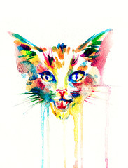 cat.watercolor illustration