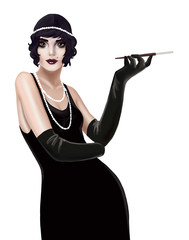 illustration of a woman with a mouthpiece in the style of 20's