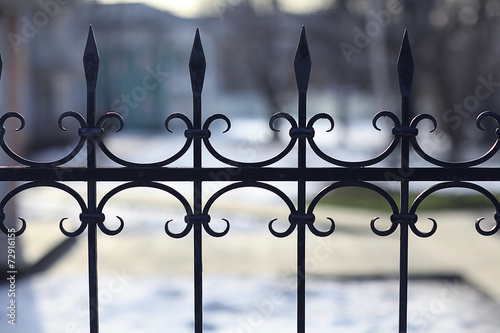 Leinwanddruck Bild forged lattice fence gate
