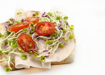 Sandwich con ensalada y jamon cocido