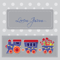 locomotive with gift boxes on holiday card
