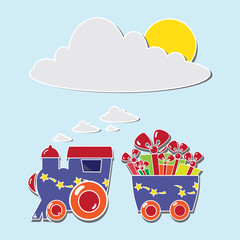 Cute train with boxes and baloons on a gift card