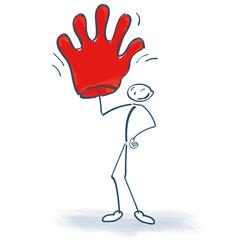 Strichmännchen mit Handschuh