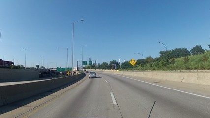 POV car approaching Chicago Downtown from freeway