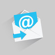 Flat email vector icon with blue arrow and long shadow