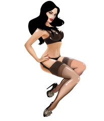 illustration with beautiful vintage girl pin up in underwear