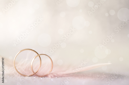 Leinwandbild Motiv Two Golden Wedding Rings and Feather - light soft background