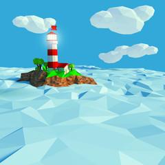 Leuchtturm auf einer kleinen Insel im Meer
