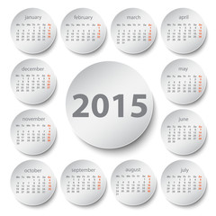 2015 calendar, circle design
