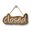 Closed sign made of wood. Vector illustration