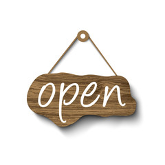 Open sign made of wood