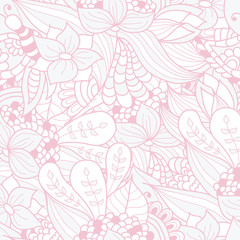 Hand-drawn doodle waves floral pattern, abstract leaves and flow