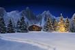 Schneelandschaft mit Hütte - 72921197