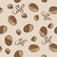 coffee beans seamless pattern - vector illustration