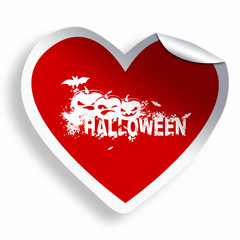Red heart sticker with Halloween grunge text and illustration