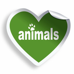 Green heart sticker with animals text and paw