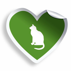 Green heart sticker with cat silhouette
