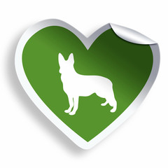 Green heart sticker with dog silhouette