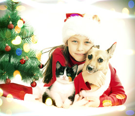 Child and Puppy Christmas