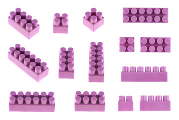 Set of toy construction blocks isolated