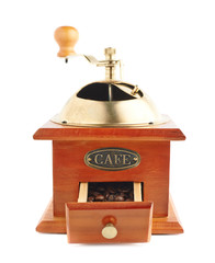 Traditional manual wooden coffee grinder isolated