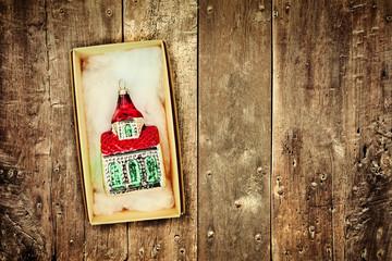 Retro styled image of vintage Christmas decoration