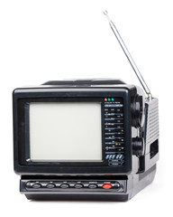 Old handheld radio and television set isolated