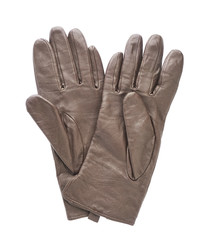 Brown leather glove isolated