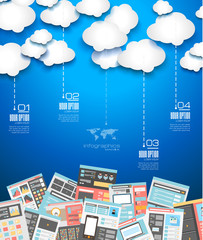 Ideal Cloud technology background with Flat style