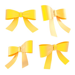 Decorational ribbon bow set isolated