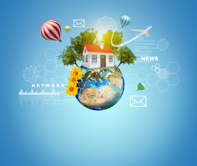 Earth with house. Air balloons, airplane and virtual elements