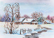 Watercolor painting of russian winter village landscape