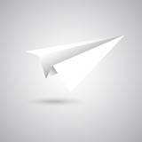 Paper plane fly on gray background