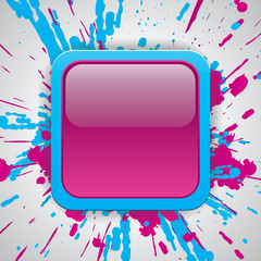 Glossy button, paint color explosion background